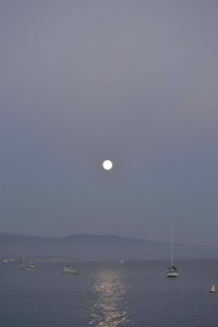 God gave us a full moon on our 10th - Santa Barbara; October 7, 2014